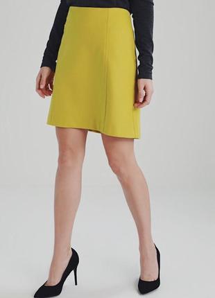 Жёлтая  шерстяная юбка marc o'polo