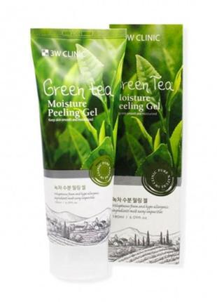 Пилинг гель скатка 3w clinic green tea moisture peeling gel корейская косметика
