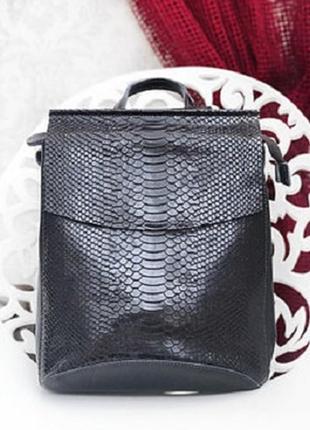 Рюкзак-сумка черный из натуральной кожи, под змею