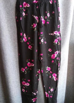 Крутые летние легкие штаны в цветочный принт,хлопковые штаны лосины на резинке tally weijl
