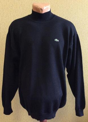 Мужской свитер гольф lacoste оригинал размер l-xl состав 100% шерсть