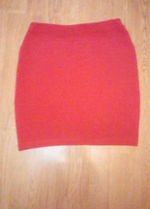 Красная терракотовая юбка резинка мини короткая