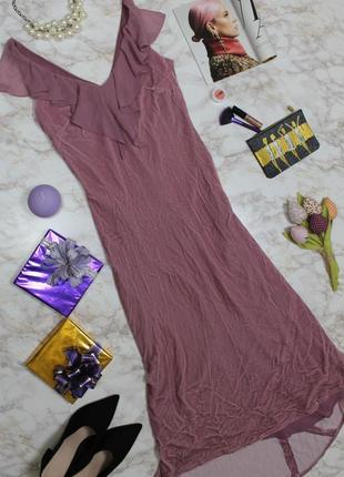 Обнова! платье миди макси бархатное с рюшами пыльная роза шёлк в составе качество