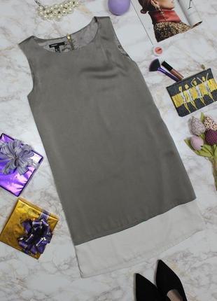 Обнова! двухслойное сатиновое платье прямого кроя медный айвори mango