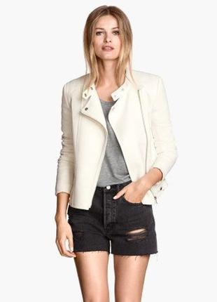 Фактурная куртка косуха пиджак в байкерском стиле от h&m