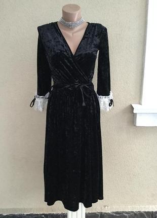 Чёрное,велюровое,бархатное,вечернее платье,белое кружево по манжету,в винтаж,ретро стиле