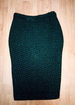 Темно зеленая юбка изумрудная черная теплая зимняя на подкладке