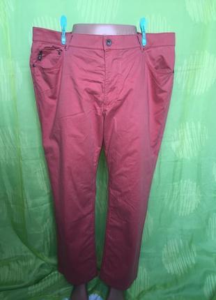 Стильные большие мужские кораловые брюки brax коттон эластан ххl 50-52