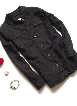 Черные длинный льняной пиджак жакет летняя куртка большого размера