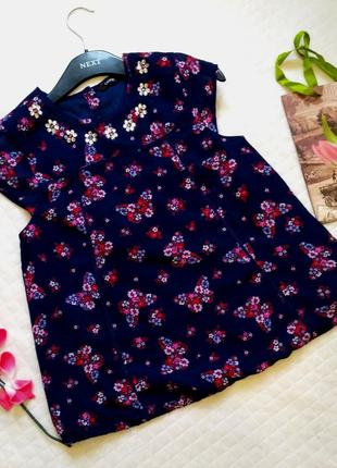 Красивая блуза в бабочки с камнями, с кружевом на девочку 12-13 лет