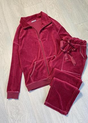 Спортивний костюм бархатний/велюровий цвета марсала
