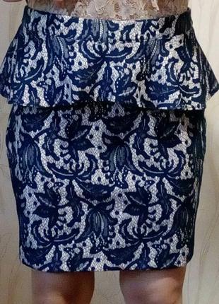 Стильная ажурная юбка с баской oasis.