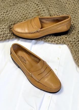 Рижие мокасини туфли на низьком каблуке antonio paolo