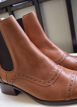 Стильные кожаные ботинки челси броги р.37 24 см massimo dutti
