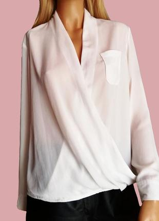 Белая блузка на запах шифон