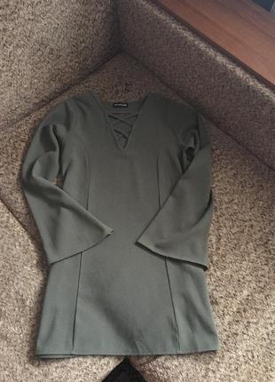 Платье трапеция цвета хаки