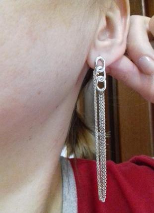 Серебряные серьги-цепочки инсар