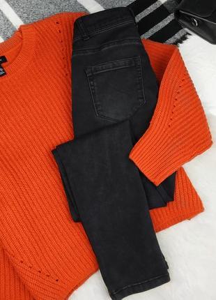 Высокие джинсы скинни базовые штаны высокая посадка