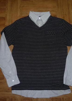 Мужская рубашка в клеточку+трикотажная футболка-жилетка два в одном с длинным рукавом