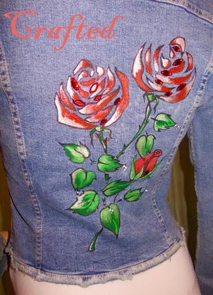 Crafted джинсовый пиджак с ручной росписью ♥