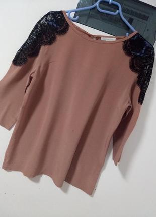 Крутая шелковая блуза с кружевом раз.
