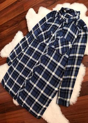 Натуральное платье -рубашка в клетку