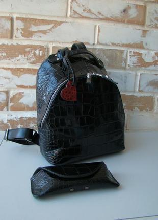 В наличии! стильный женский кожаный рюкзак + футляр для очков