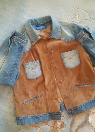 Джинсовая куртка с натуральной замшей,escada sport,размер 44 италия