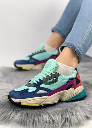 Шикарные женские весенние кроссовки adidas falcon mint blue