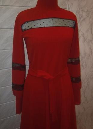 Миди платье красного цвета! размерs-m!