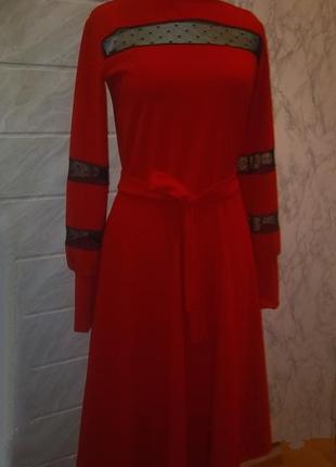 Миди платье красного цвета! размерs-m!2 фото