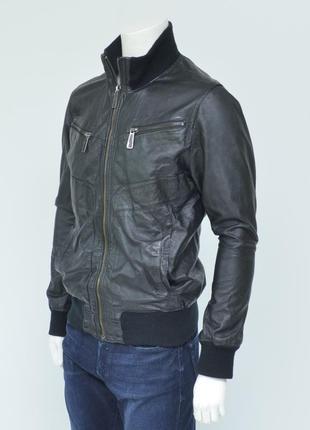 Черная куртка с натуральной кожи от jack & jones premium