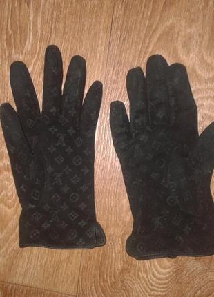 Замшевые деми перчатки louis vuitton, оригинал