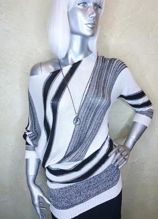 Бирка оригинальная полосатая черная белая вискозная кофта туника джемпер rinascimento s-m