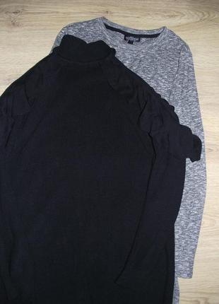 Вязанное платье с открытыми плечами воланами