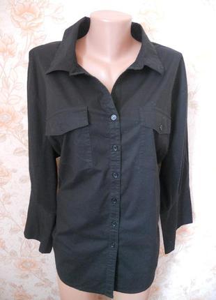 Рубашка черного цвета. по бокам -трикотажные вставки. 58-60 р-р
