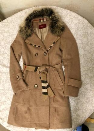 Шерстяное пальто burberry (оригинал)