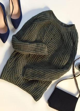 Теплая кофта свитер с перфорацией