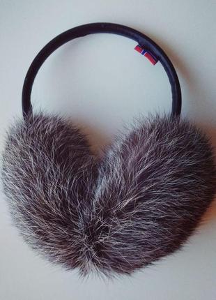 Женские меховые наушники из натурального меха кролика (серый цвет)