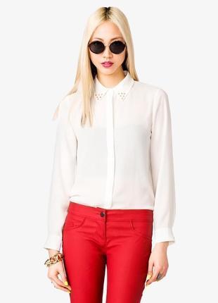 Кремовая шифоновая блуза рубашка с длинным рукавом