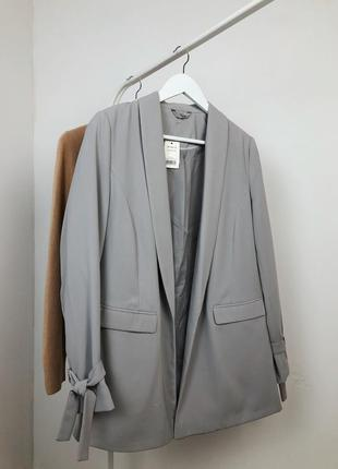 Идеальный серый пиджак новый удлиненный