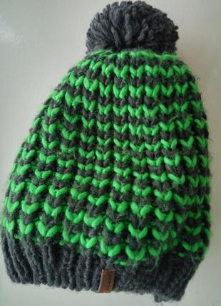Зимняя тёплая шапка с помпоном на флисе для мальчика