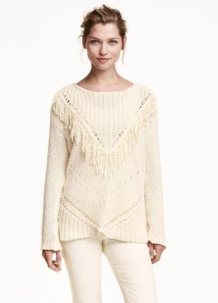 Вязанный свитер с бахромой oversized