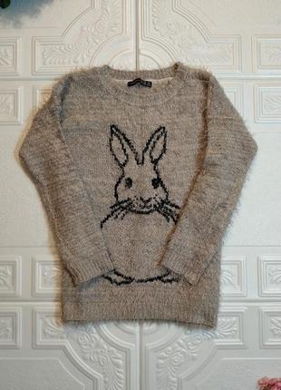 Блестящий вязаный свитер-травка atmosphere, рукав 3/4, xs/s