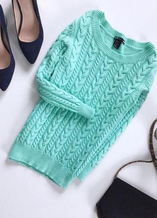 Вязаный свитер в косичку с укороченным рукавом от h&m мятного цвета