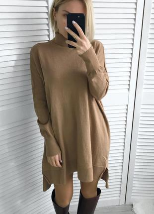 Шикарне шерстяне плаття-светрик кольору кемел