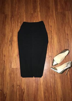 Чёрная юбка миди, офисная