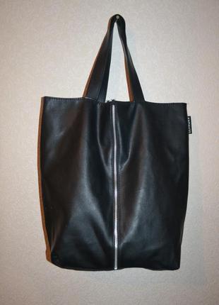 Кожаная сумка шоппер sephora