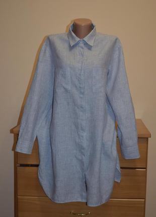 Льняна рубашка в тонкую полоску max mara