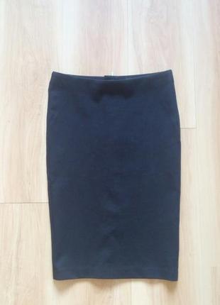 Классическая юбка-карандаш черная трикотажная  юбка zara